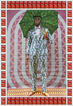 Another image from Moroccan photog Hassan Hajjaj's deliberately styled portraits showcasing African fashions, patterned mats and local canned goods as pop art décor.