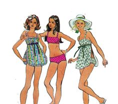 70s Bathing Suit Bikini Bra Top Tankini with Apron, had a couple of those with aprons. One was detachable
