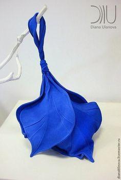 """Сумка кожаная """"Бутон"""" синий - синий,однотонный,зеленая сумка,бохо-стиль"""