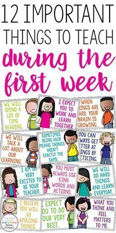 First grade classroom - 12 important things to teach during the first week Great discussion starters to build classroom community Motivational posters for the classroo m First Day Of School Activities, 1st Day Of School, Beginning Of The School Year, Writing Activities, School Fun, First Grade Classroom, Kindergarten Classroom, Future Classroom, Classroom Ideas