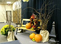 Dimples and Tangles: Life's A Stage Church stage and table decor ideas Banquet party Autumn decorations Homecoming Decorations, Altar Decorations, Autumn Decorations, Centerpieces, Christmas Stage Design, Church Stage Design, Banquet, Alter Decor, Church Lobby