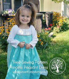 princess peasant dress in Elsa colors - free sewing pattern. Size 2-3