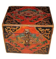 Tiny painted antique Tibetan box