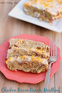 Chicken Bacon Ranch Meatloaf.  A delicious chicken meatloaf with the flavors of bacon and ranch.  #dinner