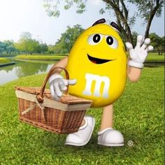 Yellow on a picnic M&m Characters, Fictional Characters, House Of M, M M Candy, Picnic Time, Lemon Yellow, Cute Images, Art Themes, Cute Boys