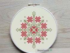 modern cross stitch pattern nordic folk ornament by Happinesst