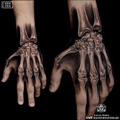 Photo tattoo Alexey Voinov - Different tattoos on a . Bone Hand Tattoo, Full Hand Tattoo, Skeleton Hand Tattoo, Simple Hand Tattoos, Hand Tattoos For Women, Bone Tattoos, Skull Tattoos, Body Art Tattoos, White Tattoos