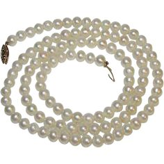 Vintage Akoya Pearl 14K Gold Filigree Clasp Necklace