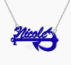 Name Necklace Anchor Hand Made Custom Blue Initials