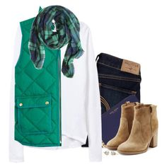 J.crew green quilted vest, plaid scarf & suede boots
