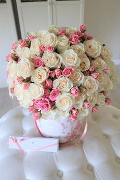 Rose Bloom magnificent design features 50 classic white roses mixed in with pretty pink spray roses. JLF Los Angeles offers Same Day flower delivery in Los Angeles cities and surrounding areas. Order Mother's Day Flowers at JLF boutique. Flower Bouquet Pictures, Pink Flower Bouquet, Beautiful Bouquet Of Flowers, Pink Flowers, Beautiful Flowers, Exotic Flowers, Beautiful Gardens, Flower Box Gift, Flower Boxes