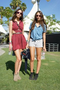 Coachella fashion: Anything with ankle boots. Cut-outs and tied blouses.