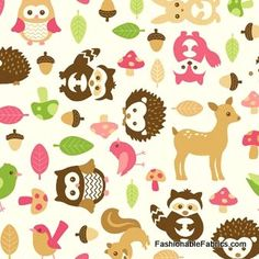 Fabric... Flannel Forest Friends Tossed Animals in Pink by Northcott Fabrics