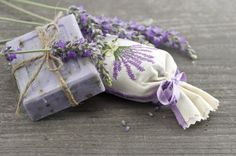 lavender soap with fresh flowers