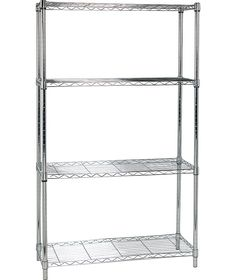 buy heavy duty 4 tier metal shelving unit chrome plated at argosco - Metal Shelving Unit