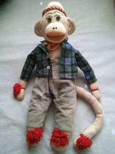 """Vintage Sock Monkey Handmade with Shirt and Trousers 18"""" 