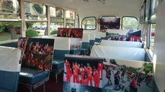 百万石音楽祭2014で、ボンネットバスの中では、昨年の音楽祭のパネル展示を実施。