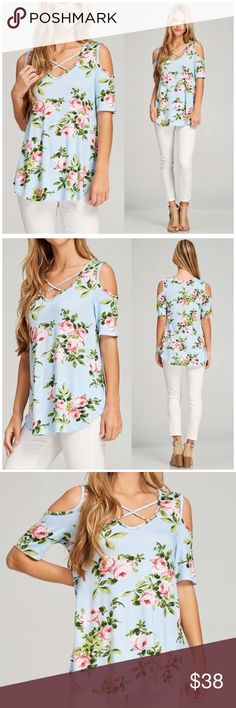 Floral Criss Cross Cold Shoulder Top Floral Criss Cross Cold Shoulder Top. Featuring a V Neck with a stunning floral print on a buttery soft jersey material. 96% Rayon 4% spandex. Fits true to size Bchic Tops