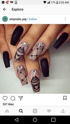Diseño de uñas 💅 Coffin Nails, Acrylic Nails, Gel Nails, Manicure, Lace Nail Art, Lace Nails, Crystal Design, Nail Bar, Nail Technician