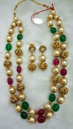 Pearl Necklace Designs, Beaded Jewelry Designs, Bead Jewellery, Pendant Jewelry, Jewelery, Gold Jewelry Simple, Indian Jewelry, Bridal Jewelry, Fashion Jewelry