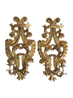 Carved Gilt Corona Sconces, Pair