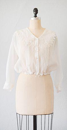 White Edwardian cotton blouse  Victorian Bertha Collar Blouse  Wide collar trim Edwardian Lace shirt