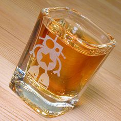 1 Robot Shot Glass  clear square etched glass by BreadandBadger, $12.00