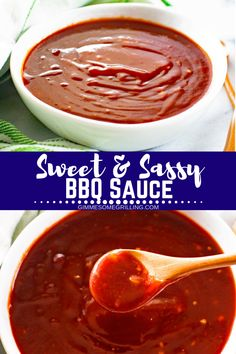 This delicious Homemade BBQ Sauce is amazing! Sweet & Sassy BBQ Sauce is the best way to top your favorite food like burgers, chicken and m. Homemade Onion Soup Mix, Homemade Sauce, Homemade Bbq, Home Made Bbq Sauce, Make Bbq Sauce, Barbecue Sauce, Sauce Recipes, Great Recipes, Favorite Recipes