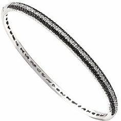 Black and White Diamond Bangle Bangle Bracelets, Bangles, Diamond Bangle, White Fashion, Sparkles, Jewerly, Bling, Black And White, My Style