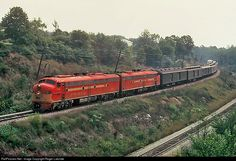 Frisco E8(A) 2018 and 2013 leads The Oklahoman passenger train which ran between St. Louis and Oklahoma City, seen here at Kirkwood, Missouri September 19, 1966. Photo taken from my slide collection. photographer Joe Collias.