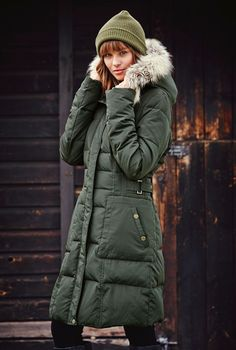 down jacket with trim