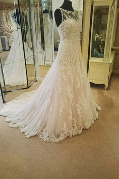 Illusion Neckline Ivory Lace Backless Wedding Gowns Princess