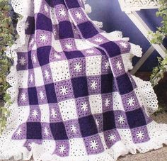 """""""AMETHYST GINGHAM STAR AFGHAN"""" CROCHET PATTERN I think this would be awesome in red, white, and blue"""