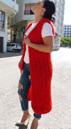 Exclusive Red Extra Chunky Longhair mohair Waistcoat   by LanaKnittings #Handmade #Crewneck