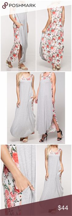 Gray Floral Maxi Dress Gray floral Maxi dress. Available in small, medium and large. Fits true to size. 95% rayon, 5% spandex. Bchic Dresses Maxi