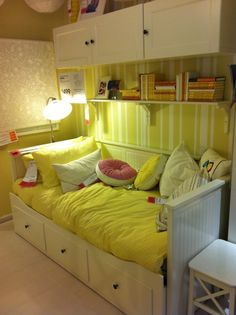 Ikea bedroom - cupboards on wall . I thought about this for the girlS' room; Ikea Girls Room, Girls Bedroom Colors, Bedroom Wall Colors, Girl Bedroom Designs, Ikea Bedroom, Bedroom Ideas, Bedroom Office, Bed Against Wall, Bedroom Cupboards