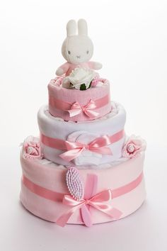 Miffy 3 Tier Nappy Cake Pink - Baby shower baskets - Baby Tips Baby Shower Nappy Cake, Baby Nappy Cakes, Regalo Baby Shower, Baby Shower Baskets, Baby Shower Diapers, Baby Shower Gifts, Diaper Cakes, Baby Baskets, Baby Bouquet