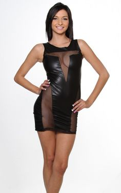 Black Side Front Mesh Insert Faux Leather Sexy Mini Dress $25.95