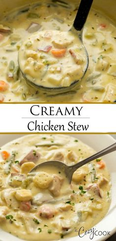 This easy Creamy Chicken Stew is an classic comfort food that you can make on the Stove Top Crock Pot or Instant Pot Serve it over biscuits or top it with dumplings souprecipes comfortfoods dinnerrecipe Creamy Chicken Stew, Stew Chicken Recipe, Chicken Recipes, Stewed Chicken, Creamy Chicken Casserole, Chicken Dumplings, Keto Chicken, Shredded Chicken, Slow Cooker Recipes