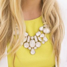 White Mesh, Jewel + Gold Statement Necklace Worn a couple times, great condition | necklace blowout sale - $8 firm price (will bundle for joint shipping)  Forever 21 Jewelry Necklaces