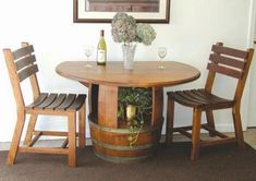 Table and chairs set from recycled wine barrels