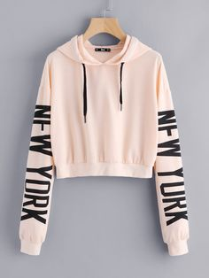 Pink Drop Shoulder Letter Print Hoodie Outfits For Teens, School Outfits, Girl Outfits, Trendy Outfits, Cute Outfits, Fashion Outfits, New York Sweatshirt, Crop Top Hoodie, Cute Sweaters