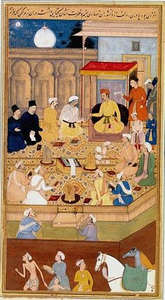 Akbar holds a religious assembly of different faiths in the Ibadat Khana in Fatehpur Sikri