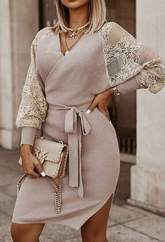 Elegant Party Dresses, Party Dresses For Women, Lace Sleeves, Dresses With Sleeves, Dresses Dresses, Fall Dresses, Sweater Dresses, Sleeve Dresses, Knit Dress