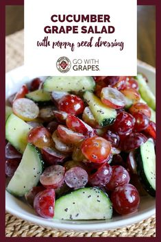 Crisp cucumbers and fresh grapes tossed in a simple poppy seed dressing made with Greek yogurt is an easy salad for lunch or dinner. Go with grapes from California and cucumbers together for lunch or dinner. Grape Recipes, Cucumber Recipes, Summer Recipes, Salad Recipes, Diet Recipes, Vegetarian Recipes, Cooking Recipes, Healthy Recipes, Easy Salads