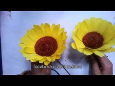 Sunflower Paper Flower tutorial- Hoa hướng dương từ giấy nhún - YouTube