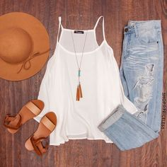 **** Try your first box of Stitch Fix today! Stonewashed distressed boyfriend jean, white halter tank and nude sandal. Love the camel colored wide brimmed hat! Boho style!! Stitch Fix Spring, Stitch Fix Summer, Stitch Fix Fall 2016 2017. Stitch Fix Spring Summer Fall Fashion. #StitchFix #Affiliate #StitchFixInfluencer