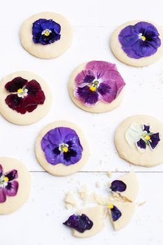 The Best Shortbread Cookie Recipe with Pressed Edible Flowers!