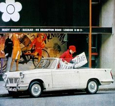 Mary Quant girl and her true 60's icon: a Triumph Herald convertible, Ideal Home March 1967