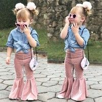 Newborn Toddler Baby Girls Pleuche Pants Bell-bottoms! High quality and Brand new 100% Main Color: